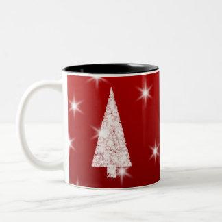 White Christmas Tree with Stars on Red. Coffee Mug