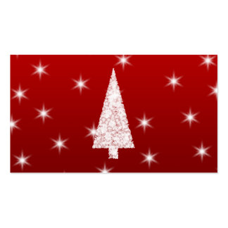 White Christmas Tree with Stars on Red. Double-Sided Standard Business Cards (Pack Of 100)