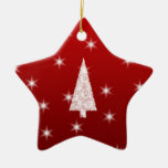 White Christmas Tree with Stars on Red. Double-Sided Star Ceramic Christmas Ornament