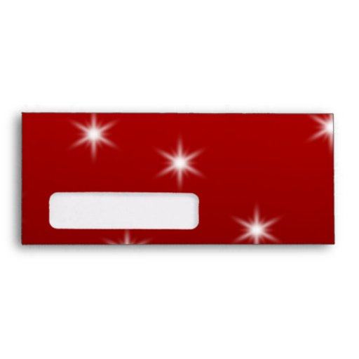 White Christmas Tree with Stars on Red. Envelope