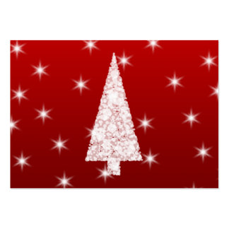 White Christmas Tree with Stars on Red. Large Business Cards (Pack Of 100)