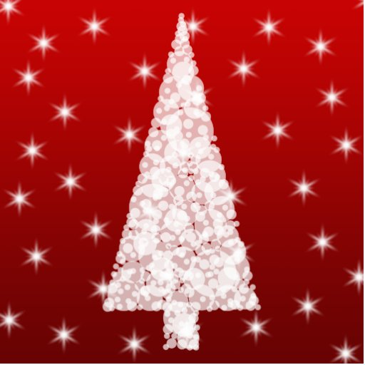 White Christmas Tree with Stars on Red. Photo Sculpture Magnet