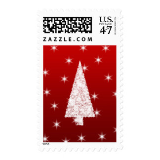 White Christmas Tree with Stars on Red. Postage Stamp