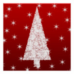 White Christmas Tree with Stars on Red. Print