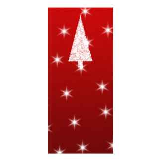 White Christmas Tree with Stars on Red Rack Card Design