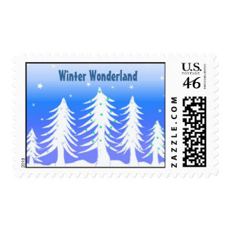 White Christmas Trees in a Winter Wonderland Postage Stamp