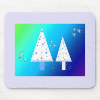 White Christmas Trees Mouse Pad