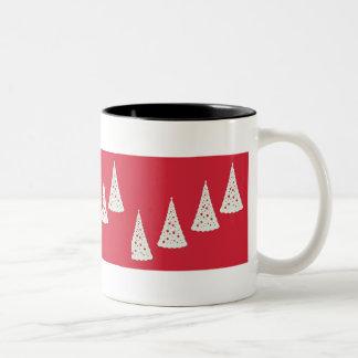 White Christmas trees on red Two-Tone Coffee Mug