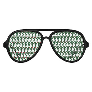 White Christmas Trees on Sparkling Green Aviator Sunglasses