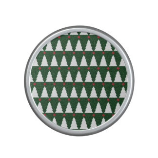 White Christmas Trees on Sparkling Green Bluetooth Speaker