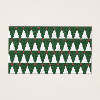 White Christmas Trees on Sparkling Green Business Card