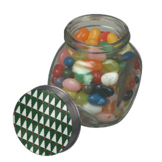 White Christmas Trees on Sparkling Green Glass Candy Jars