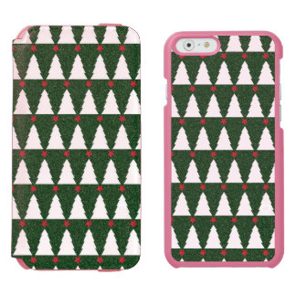 White Christmas Trees on Sparkling Green iPhone 6/6s Wallet Case