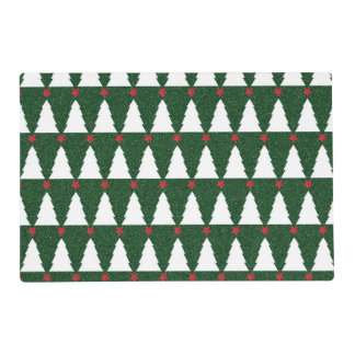 White Christmas Trees on Sparkling Green Placemat