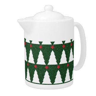 White Christmas Trees on Sparkling Green Teapot