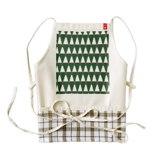 White Christmas Trees on Sparkling Green Zazzle HEART Apron