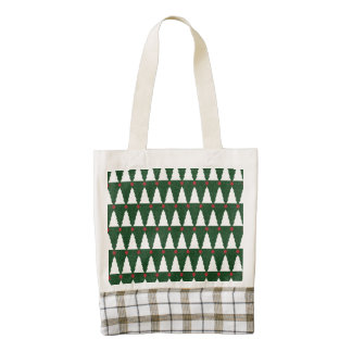 White Christmas Trees on Sparkling Green Zazzle HEART Tote Bag