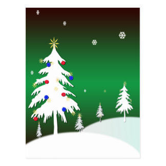 White Christmas Trees with Green Background Post Cards