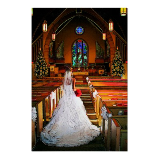 White Christmas Winter White Wedding Gown Poster