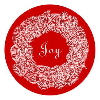 White Christmas Wreath 5.25x5.25 Square Paper Invitation Card