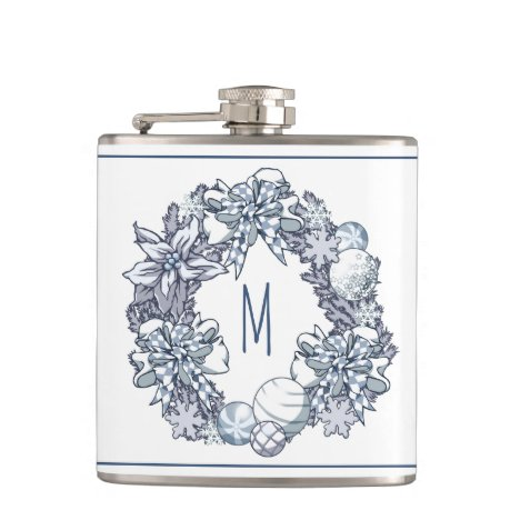 White Christmas Wreath Monogram Flask
