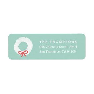 White Christmas Wreath Return Address Labels