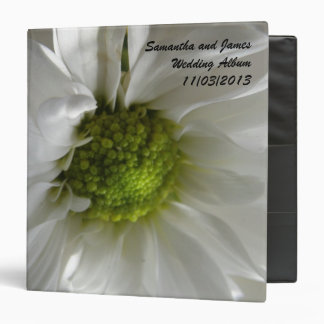 White Chrysanthemum Custom Wedding Album 3 Ring Binders