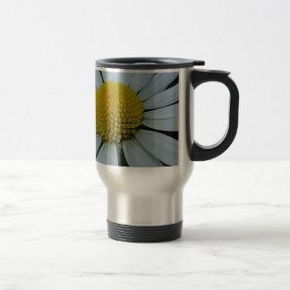 White chrysanthemum with yellow centre travel mug