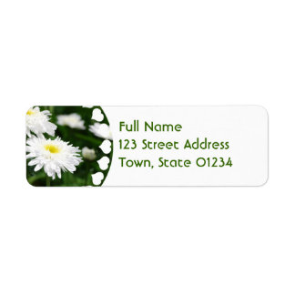 White Chrysanthemums Mailing Labels