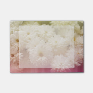 White Chrysanthemums with Pink Light Leaks Post-it Notes