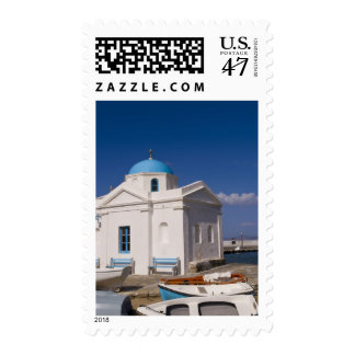 White church on the beach near the Aegean Sea on Postage Stamp