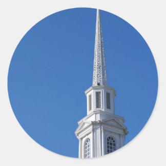 White Church Steeple Classic Round Sticker