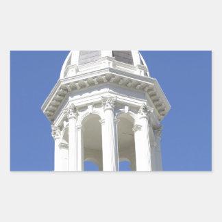 White Church tower, Downtown San Jose California Rectangular Sticker