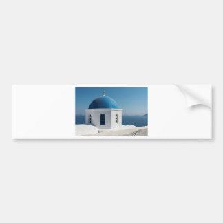 White Church With Blue Dome, Santorini Bumper Sticker
