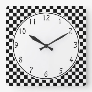 White circle Black Checkerboard pattern Wall Clock