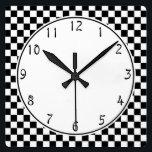 "White circle Black Checkerboard pattern Square Wall Clock<br><div class=""desc"">White circle center on black and white Checkerboard  black clock numbers  Black and White Checkers pattern  Black and White Checkerboard pattern  dark and light Checked pattern</div>"