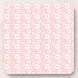 White Circle Hearts Beverage Coaster