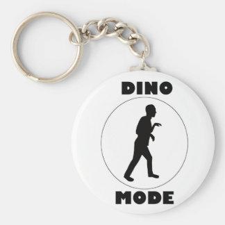 White Circle Keychain w/ Black Dino Mode & Logo