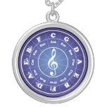 White Circle of Fifths Round Pendant Necklace