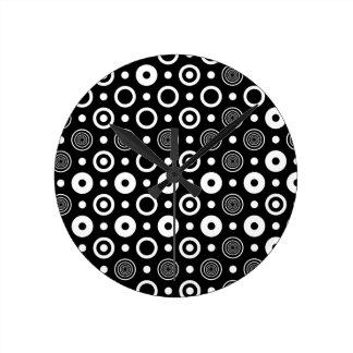 White circles and dots round clock