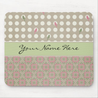 White Circles and Green & Pink Pattern on Brown Mouse Pad