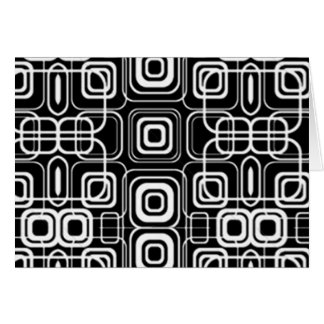 White Circles and Squares on Black Products Greeting Card
