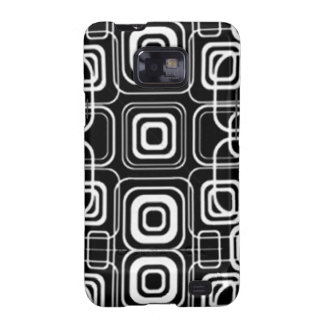 White Circles and Squares on Black Products Samsung Galaxy S2 Cases