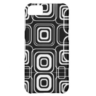 White Circles and Squares on Black Products iPhone 5C Covers