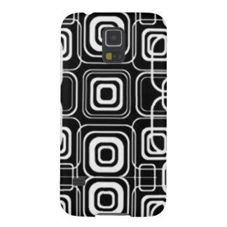 White Circles and Squares on Black Products Galaxy S5 Case
