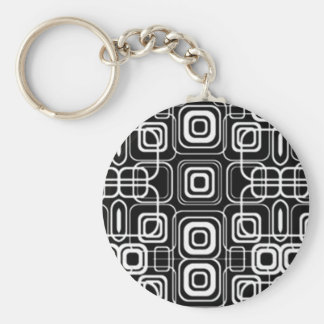 White Circles and Squares on Black Products Basic Round Button Keychain