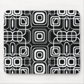 White Circles and Squares on Black Products Mouse Pad
