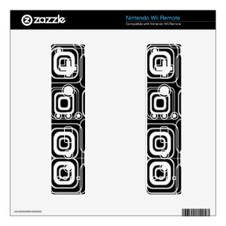 White Circles and Squares on Black Products Skins For The Wii Remote