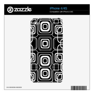 White Circles and Squares on Black Products iPhone 4 Decals