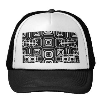 White Circles and Squares on Black Products Trucker Hat